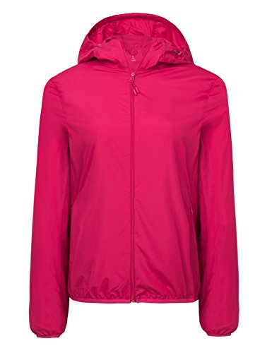 CHERRY CHICK Women's Ultralight Packable UV Protection Summer Jacket with Hood (US X-Large/Chinese 3XL, Rose ()