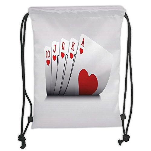 Custom Printed Drawstring Sack Backpacks Bags,Poker Tournament Decorations,Royal Flush Playing Cards Hearts Betting Bluff Gambling Decorative,Red and WhiteSoft Satin,5 Liter Capacity,Adjustable Strin