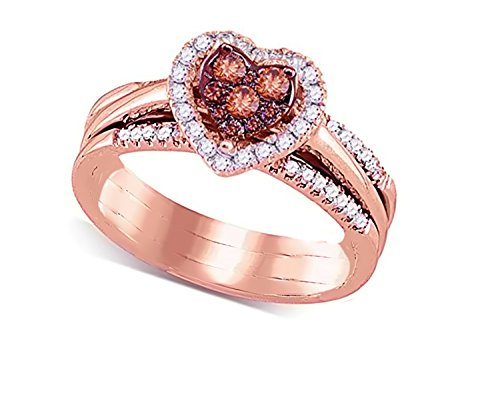 - Brandy Diamond Chocolate Brown 14k Rose Gold Heart Halo Bridal Wedding Engagement Ring Band Set 1/2 Ctw.
