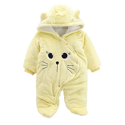 0-24 Months Baby Girl Boy Winter Warm Hooded Romper Pajamas Solid Cartoon Cat Plus Thick Velvet Jumpsuit (Yellow, 12 Months) by Cealu