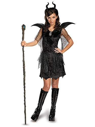 Disney Maleficent Movie Black Gown Tween Deluxe Costume, Junior/7-9 -