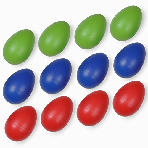 Egg Shakers NO LEAD PELLETS! KID-SAFE BEANS! (1 Dozen, 12 Pack) Durable ABS Plastic Musical Percussion Instrument - BPA-FREE Toy Shaker Rattle Maracas For Kids, Children, Toddlers, Babies, Infants