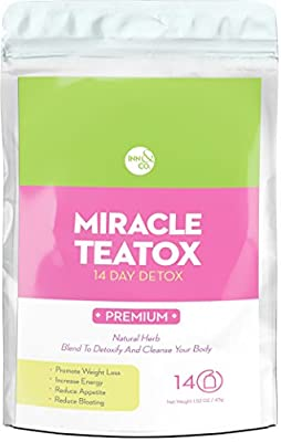 MIRACLE TEATOX 14 Day Detox Tea, Organic Weight Loss Tea: Detoxify, Reduce Bloating, Appetite Suppressant. Formulated Premium Organic Herbs Proven to Detoxify and Cleanse Your Body