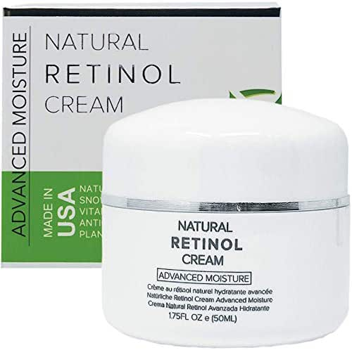 Retinol Cream Moisturizer for Face & Eye Area - 100% PURE & NATURAL With Snow Algae, Vitamins, Plant Extracts - Anti Aging Night Wrinkle Cream for Women - Reduces Pores, Sun Spots, Wrinkles, 1.7 Fl Oz