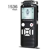 Digital Voice Recorder 8GB 1536kbps Dictaphone ,Voice Activated, HQ Recording Microphone,Voice Recorder For Lecture, Sound Audio Recorder with One Touch Recording, A-B Repeat, MP3 Player
