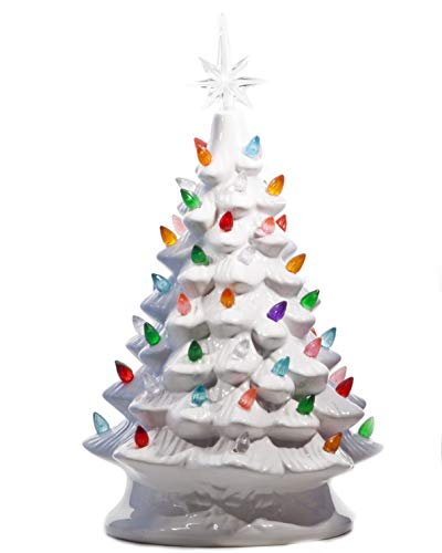 Traditions Ceramic - ReLive Christmas is Forever Lighted Tabletop Ceramic Tree, 14.5-Inch White Tree with Multicolored Lights