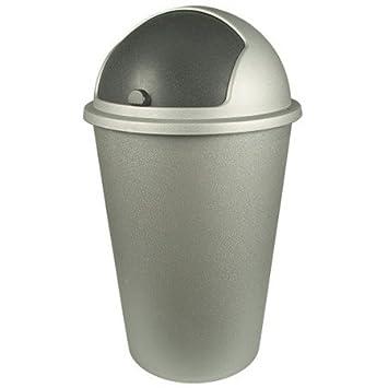 DKB Abfalleimer Mülleimer mit Schiebedeckel Mülltonne Abfalltonne Braun
