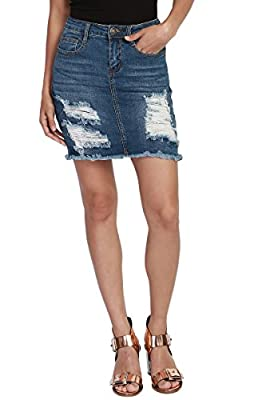 TheMogan Vintage Ripped Jean Distressed Pencil Mini Midi Denim Skirt