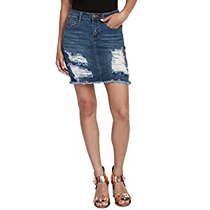 TheMogan Vintage Washed Jean Slim Straight Cut Mini Stretch Soft Denim Skirt