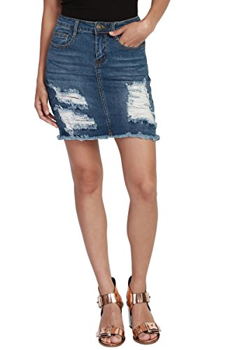 TheMogan Women's Distressed Raw Hem Pocket Washed Jean Denim Mini Skirt Medium S