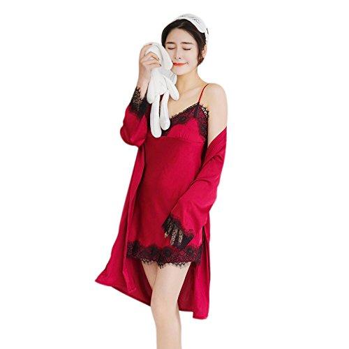 REFURBISHHOUSE Trajes de Pijama de Seda Para Mujer Ropa de Casa Sexy de Otono Batas Pijama Sujetador desmontable Rojo de Vino M: Amazon.es: Ropa y ...