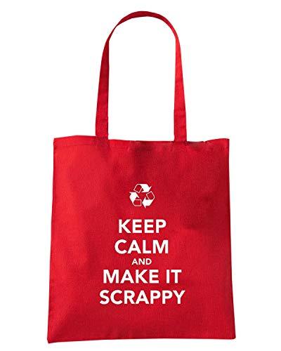 Speed Shirt Borsa Shopper Rossa TKC4062 KEEP CALM AND MAKE IT SCRAPPY