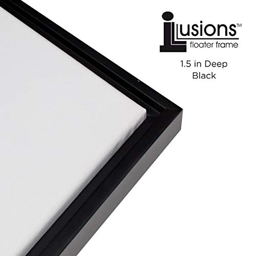 - Illusions Floater Canvas Frame for Mounting Finished Canvas Artwork, Paintings and Provides A Floating Display - [Black and Black - 16x20]