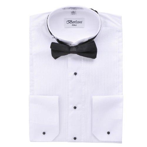Modern Men's Cufflink Convertible White Tuxedo Dress Shirt + Black Bowtie