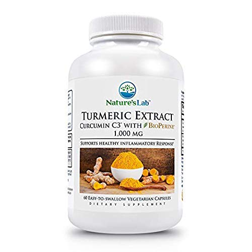 Nature's Lab Turmeric Extract Curcumin C3 with BioPerine - Value 4 Pack (480 Ct Totoal)