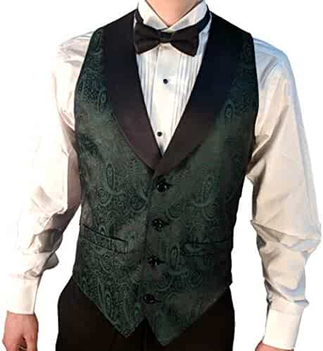 8cb53a5d3547 Men's Hunter Green Paisley Tuxedo Vest with Black Lapel and Black Bow Tie  Set