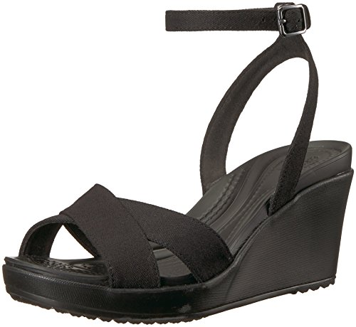Crocs Women's Leigh II Ankle Strap Wedge W Sandal Black, 9 M US by Crocs