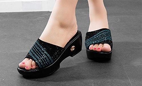 AWXJX womens flip flops Leatherette Slope High heel Artificial Diamond Thick