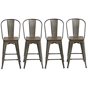 BTEXPERT 24-inch Industrial Metal Vintage Antique Copper chair