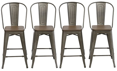 BTEXPERT 5048-24mcc-4 24-inch Industrial Metal Vintage Antique Copper Chair