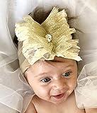 Handmade Gold And Cream Baby Headband with Fabric Flower and Rhinestone Made By Yasmine Layani