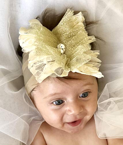 Handmade Gold And Cream Baby Headband with Fabric Flower and Rhinestone Made By Yasmine Layani by Unique Boutique By Yasmin