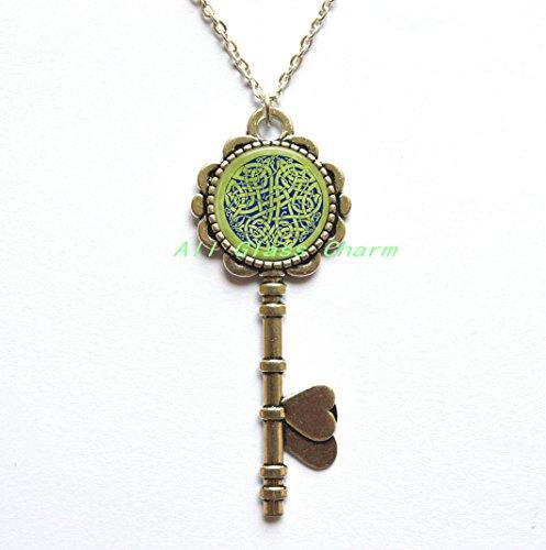 Beautiful Key Necklace,Celtic Knot Key Necklace Key Pendant - Blue Celtic Knot on Spring Green Background - Irish Jewellery - British Isles Key Pendant - Celt -