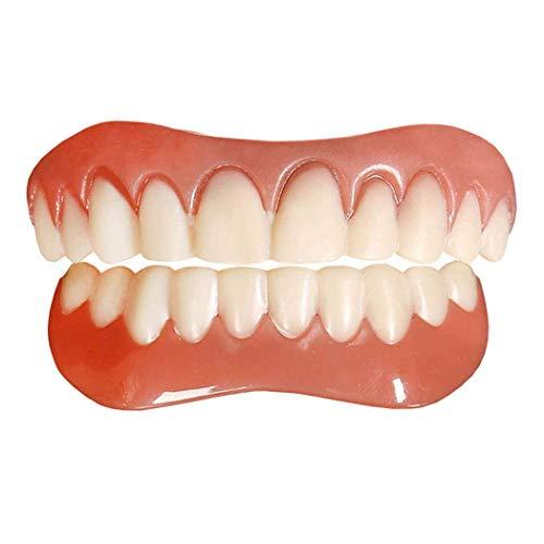 2 Pcs Upper and Lower Teeth Dentures Perfect Smile Teeth Veneers Cosmetic Teeth Comfort Fit Flex Smile Veneer for Man and Woman