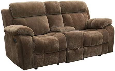 Myleene Double Gliding Loveseat with Cup Holders Mocha