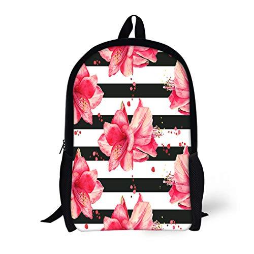 Pinbeam Backpack Travel Daypack Purple Watercolor Pattern Red Amaryllis Flowers Striped Black Waterproof School Bag