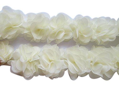 YYCRAFT 2 Chiffon Flower Lace Ribbon Trim for Applique Sewing Craft Wedding Bridal Dress DIY Decoration(3 Yards,Ivory)