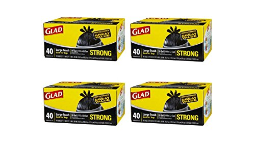 Glad Strong Quick-Tie Large Trash Bags, 30 Gallon, 40 Count per pack, pack of 4