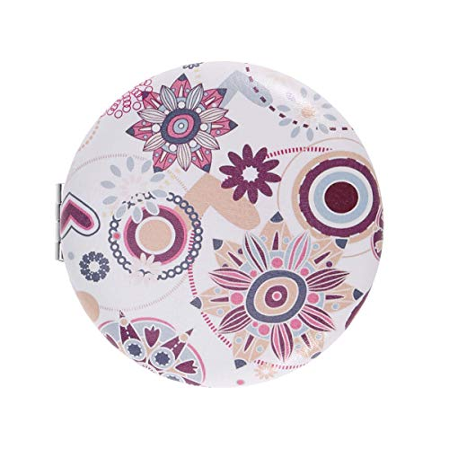 Folding PU Mirror Printing Cover Portable Cosmetic Mirror Double Sided Round Makeup Mirror Pocket Mirror for ()