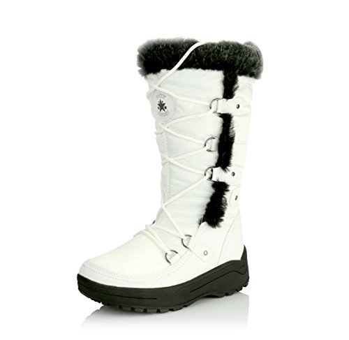 DailyShoes Women's Knee High Lace Up Warm Fur Water Resistant Eskimo Snow Boots, 9.5