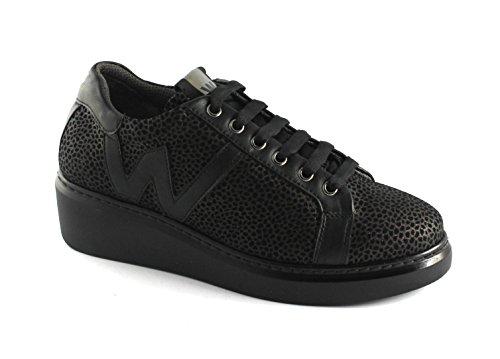 Nero Oscuros Negro Walk Melluso Con Cordones Calzado Deportivo Cuña R25405 De wgqwpZv