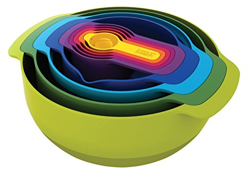 Joseph Joseph 40031 Nest 9 Compact Nesting Food Prep Set Mixing Bowls Measuring Cups Sieve Colander Plastic Dishwasher Safe Non-Slip, 9-Piece, Multicolored