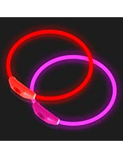 NOVKIN 2-Pack LED Dog Collar , Light Up Dog Collars,Rechargeable Dog Lights for Night Walking,Universal, Reusable Safety Necklacefor Small Medium Large Dogs RED&Pink