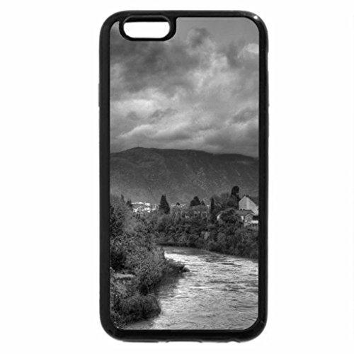 iPhone 6S Case, iPhone 6 Case (Black & White) - river through a muslim town