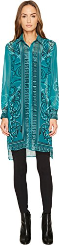 Versace Collection Women's Printed Long Sleeve High-Low Button Up Absinthe (Green) - Women For Versace Clothing