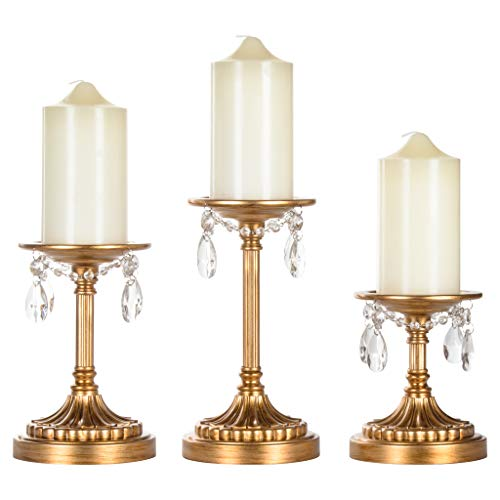 Piece 3 Set Holder - Amalfi Décor Victoria 3-Piece Antique Gold Pillar Candle Holder Set, Crystal-Draped Metal Candlestick Accent Stand