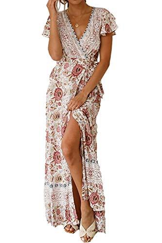 Alelly Women Wrap Maxi Dress Split Flowy Long Cocktail Dress Boho Polka Dot Summer Dresses White