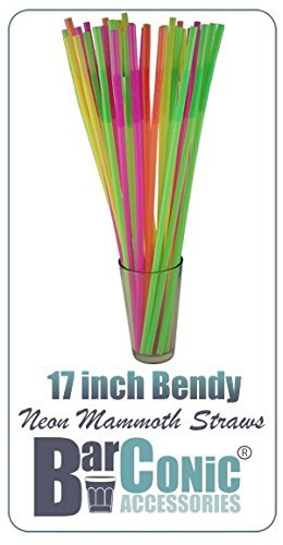 17 Inch Mammoth Bendy Straws - ASSORTED NEON (Pack of 200) by Barproducts.com, Inc.