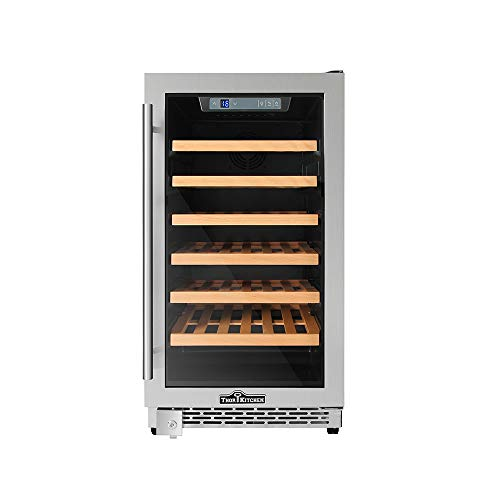 Thor Kitchen 24 inch 48 Bottle Mini Wine Cooler Refrigerator 4 Wooden Shelves Stainless Steel 4.17cu.ft HWC2405U