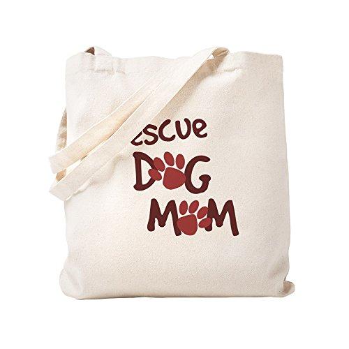 CafePress Rescue Dog Mom Natural Canvas Tote Bag, Cloth Shopping Bag