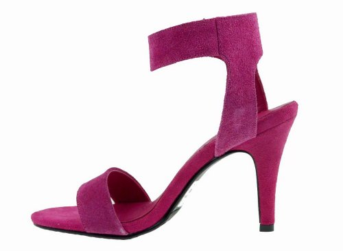 Toe Leather Stiletto Frosted M Heel 5 B Rosered WeenFashion Open Sandals US Womens Solid 4 High Cow Ex80Uq0