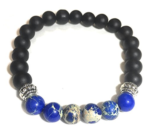 Mens Matte Black Onyx & Jasper Bracelet Beaded Men's Mala Bracelet Gemstones Healing Positive Energy Bracelet ()