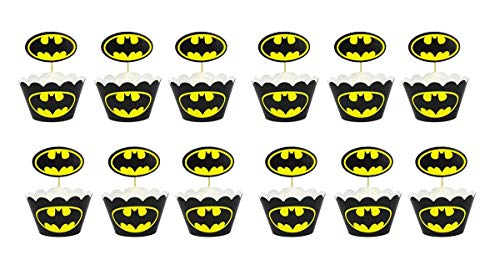 24pc Batman Cupcake Topper and Cupcake Wrapper Picks Boy Children Superhero Party Decoration Kid's Birthday Avengers Party Decoration Supplies ...]()