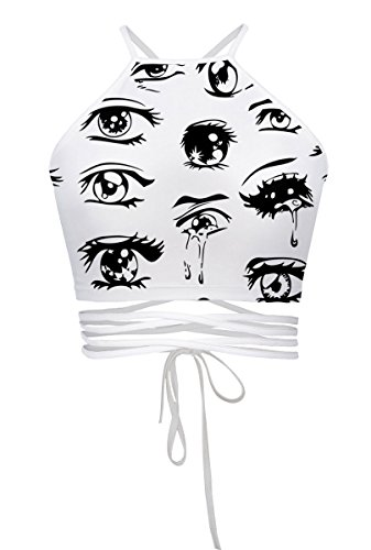 Womens Teens Girls Juniors Halterneck Sexy Vest Crop Top(Eyes) -