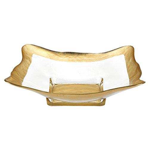 Crystal Square Bowls (Badash Crystal - Gold Leaf 8