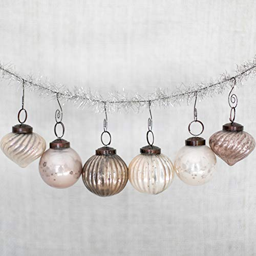 6 Silver Antique/Vintage Looking Unique Glass Mercury Ornaments Matching Swirl Hangers - Perfect Decorating, Hostess Secret Santa Gift